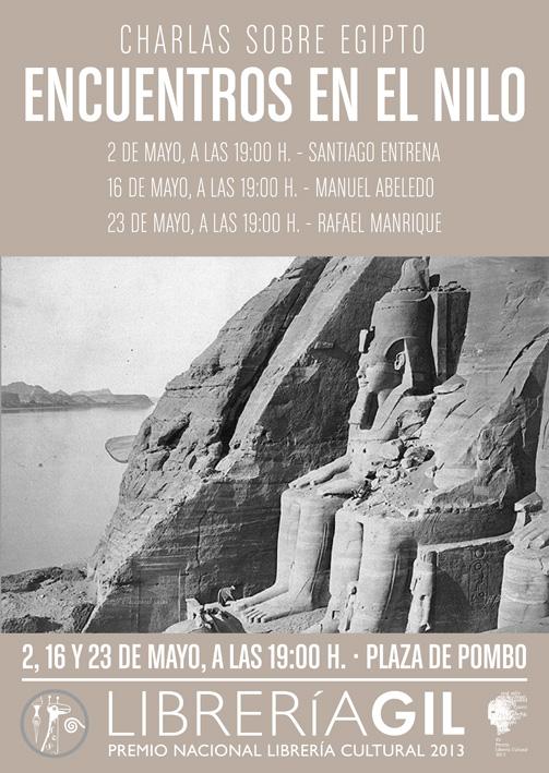 Charlas sobre Egipto. En la Librería Gil el 2, 16 y 23 de Mayo.
